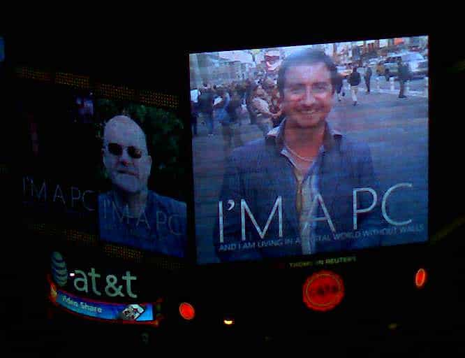 Dean on a digital screen in the heart of Time Square, New York