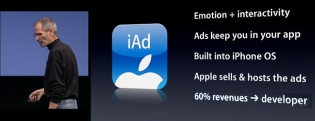 iAd launched at iPhone 0S4 keynote